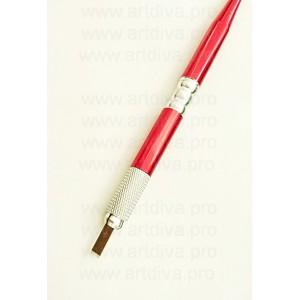 Манипула ручка для микроблейдинга металлическая красная