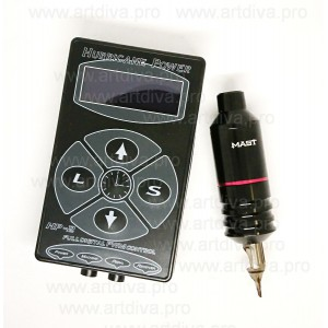 Ручка роторная для татуажа и тату Mast Mini и блок питания Hurricane