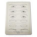 Коврик кожа тренировочная для прорисовки татуажа глаза губы брови
